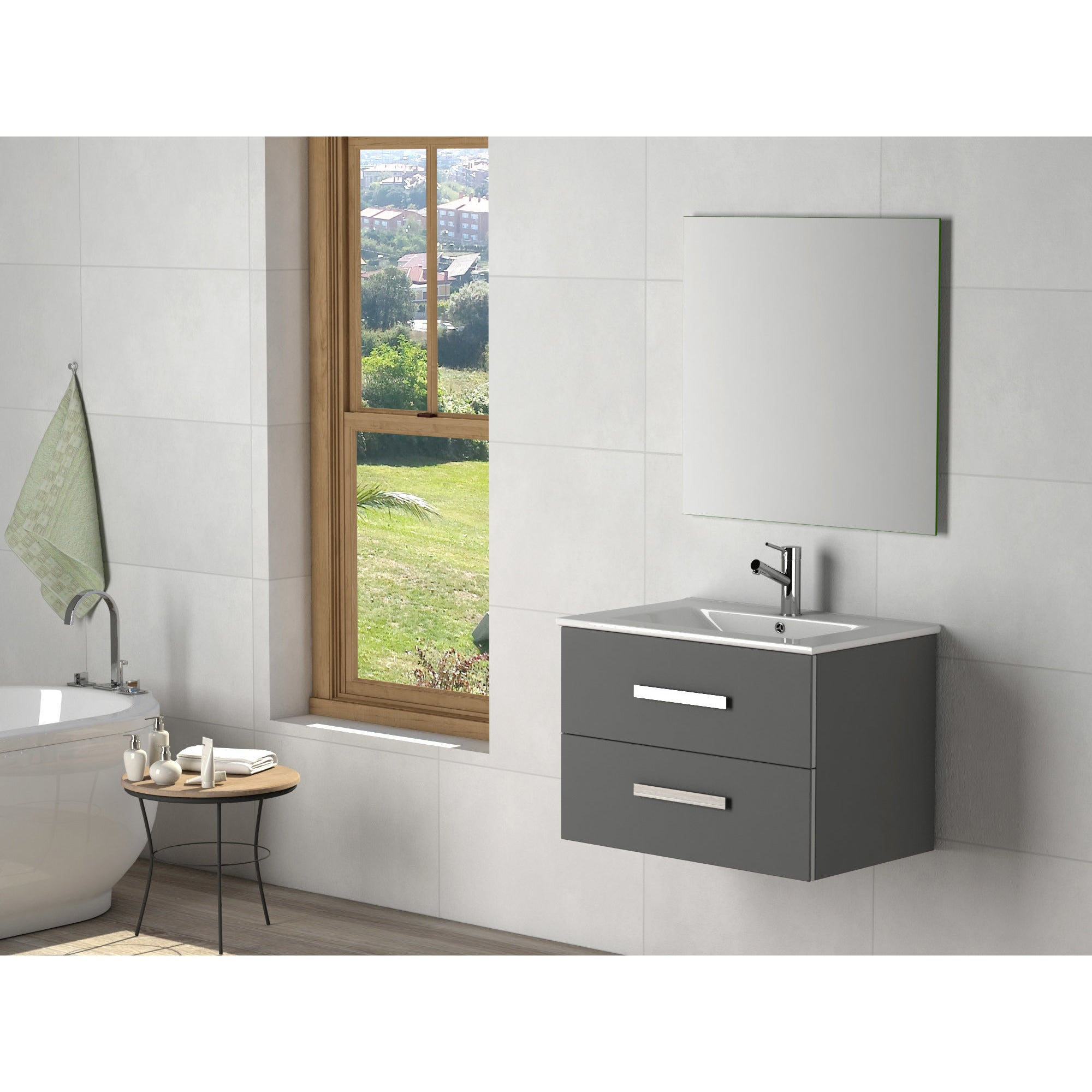 Eviva Astoria Modern Grey Wood 28 Inch Bathroom Vanity With White Porcelain Integrated Sink On Sale Overstock 16409558