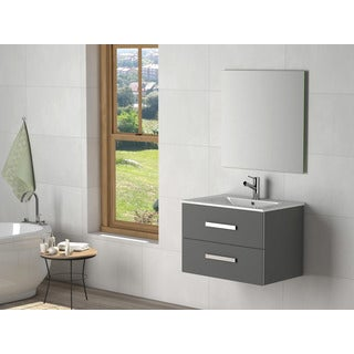 Eviva Astoria Modern Grey Wood 28-inch Bathroom Vanity with White Porcelain Integrated Sink