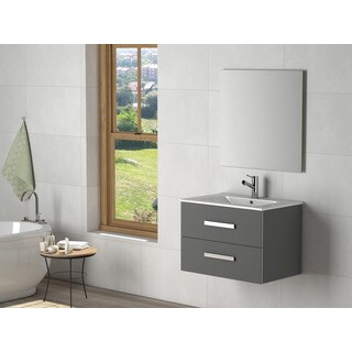 eviva Astoria Black with White Integrated Porcelain Sink 28-inch Bathroom Vanity