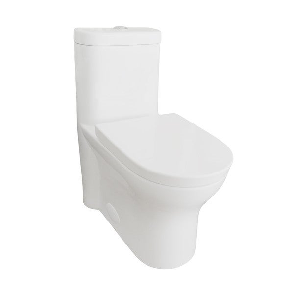 Eviva Ferri Elongated Cotton White Ceramic 1-piece Toilet With Soft Closing Seat Cover
