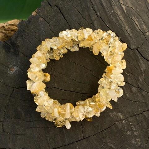 Handmade Set of 3 Silicone 'Light Caramel' Citrine Bracelets (Brazil)
