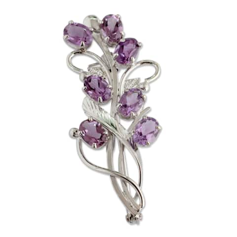 Handcrafted Sterling Silver 'Mystic Bouquet' Amethyst Brooch Pin (India)