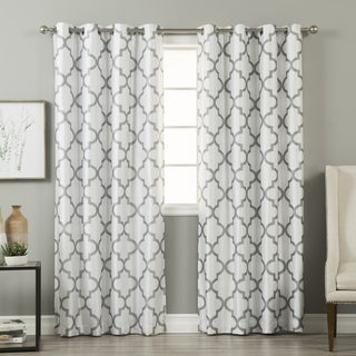 Aurora Home Faux-silk Reverse Moroccan Grommet Blackout Curtain Panel