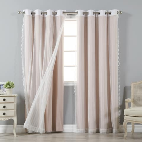 Aurora Home Mix & Match Blackout and Zigzag Lace 4 Piece Curtain Panel Set