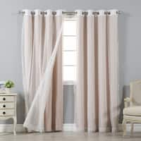 Aurora Home Mix and Match Blackout and Zigzag Lace Curtain Panel Pair (4 piece set)