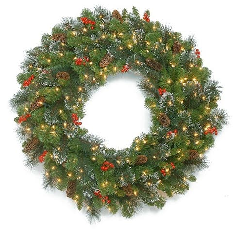 """30"""" Crestwood Spruce Wreath with Battery Operated Warm White LED Lights"""