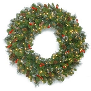 "30"" Crestwood Spruce Wreath with Battery Operated Warm White LED Lights"