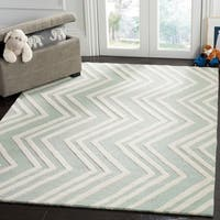 Safavieh Kids Transitional Geometric Hand-Tufted Wool Mint/ Ivory Area Rug - 4' x 6'