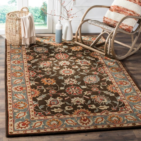 Safavieh Heritage Traditional Oriental Hand-Tufted Wool Charcoal/ Blue Area Rug - 4' x 6'
