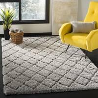 Safavieh Adriana Shag Geometric Polyester Light Grey/ Light Grey Area Rug - 3' x 5'