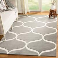 Safavieh Cambridge Transitional Geometric Hand-Tufted Wool Dark Grey/ Ivory Area Rug - 4' x 6'
