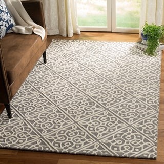 Safavieh Cambridge Transitional Geometric Hand-Tufted Wool Dark Grey/ Ivory Area Rug (4' x 6')