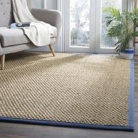 Safavieh Natural Fiber Contemporary Solid Seagrass Natural/ Navy Area Rug - 4' x 6'