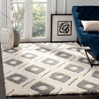 Safavieh Olympia Shag Geometric Polyester Cream/ Grey Area Rug - 4' X 6'