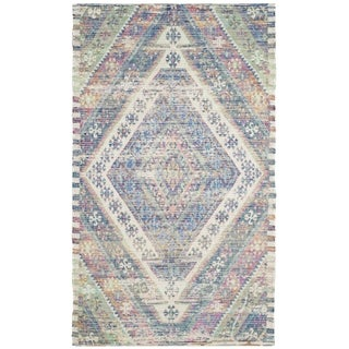 Safavieh Saffron Transitional Geometric Hand-Spun Cotton Royal Blue/ Fuchsia Area Rug (3' x 5')