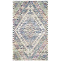 Safavieh Saffron Transitional Geometric Hand-Spun Cotton Royal Blue/ Fuchsia Area Rug - 3' x 5'