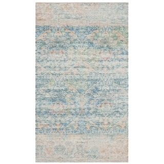 Safavieh Saffron Transitional Geometric Hand-Spun Cotton Turquoise/ Peach Area Rug (3' x 5')