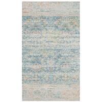 Safavieh Saffron Transitional Geometric Hand-Spun Cotton Turquoise/ Peach Area Rug - 3' x 5'