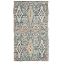 Safavieh Saffron Transitional Geometric Hand-Spun Cotton Turquoise/ Peach Area Rug - 3' x 5'