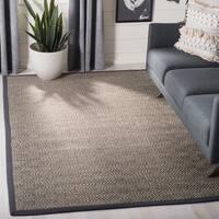 Safavieh Natural Fiber Contemporary Geometric Jute Natural/ Dark Grey Area Rug (5' x 8')