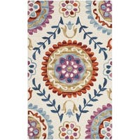 Safavieh Suzani Transitional Geometric Hand-Woven Wool Ivory/ Multi Area Rug - 3' x 5'