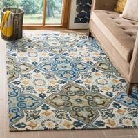 Safavieh Suzani Transitional Geometric Hand-Woven Wool Ivory/ Blue Area Rug - 3' x 5'