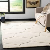 Safavieh Cambridge Transitional Geometric Hand-Tufted Wool Ivory/ Ivory Area Rug - 5' X 8'