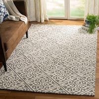 Safavieh Cambridge Transitional Geometric Hand-Tufted Wool Dark Grey/ Ivory Area Rug - 5' x 8'