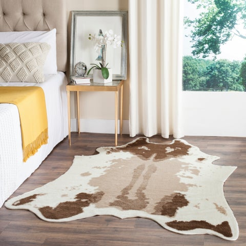Safavieh Faux Cow Hide Contemporary Animal Faux Cowhide Beige Area Rug - 5' x 6'7""