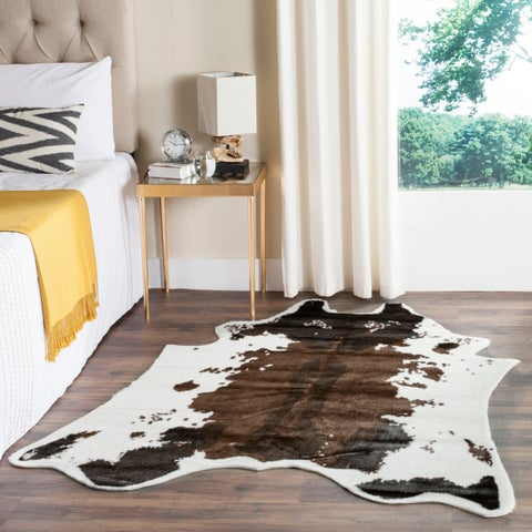 Safavieh Faux Cow Hide Contemporary Animal Faux Cowhide Brown Area Rug - 5' x 6'7""