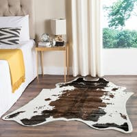 Safavieh Faux Cow Hide Contemporary Animal Faux Cowhide Brown Area Rug - 5' x 6'7
