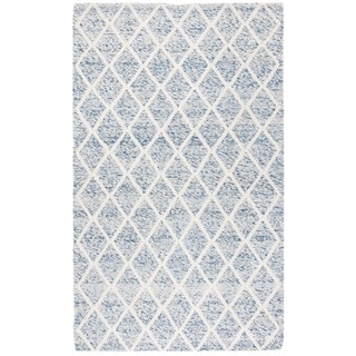 Safavieh Natura Transitional Geometric Hand-Tufted Wool Ivory/ Blue Area Rug (5' x 8')