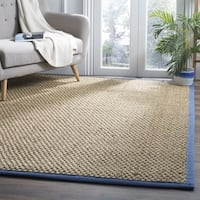 Safavieh Natural Fiber Contemporary Solid Seagrass Natural/ Navy Area Rug - 6' x 9'