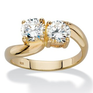 1.96 TCW Round White Cubic Zirconia Bypass Swirl Ring in 14k Yellow Gold over Sterling Silver Classic CZ