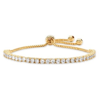 "Yellow Gold-Plated Strand Bracelet (4mm), Round Cubic Zirconia, 10"" Adjustable"