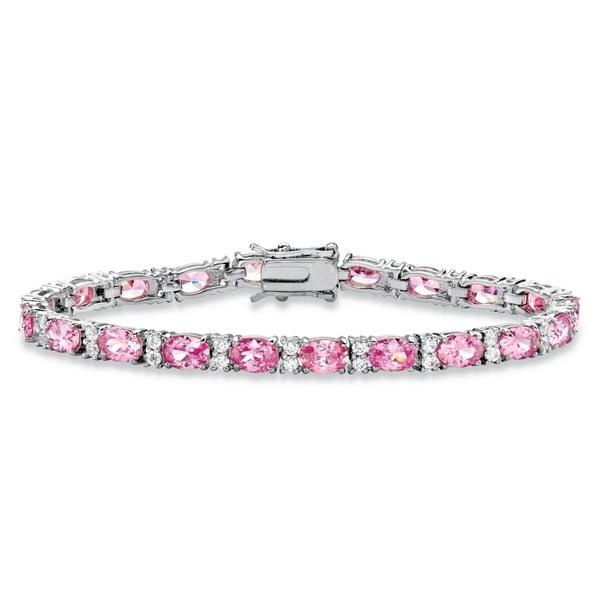 11.39 TCW Oval-Cut Pink Cubic Zirconia Interlocking-Link Tennis Bracelet Platinum-Plated