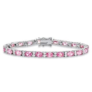 "11.39 TCW Oval-Cut Pink Cubic Zirconia Interlocking-Link Tennis Bracelet Platinum-Plated 7.5"" Color Fun"