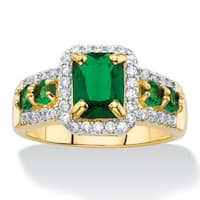 Yellow Gold-Plated Simulated Emerald and Cubic Zirconia Ring - Green/White