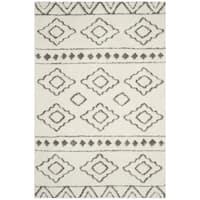 Safavieh Sparta Shag Contemporary Geometric Polyester Ivory/ Grey Area Rug - 5'1 x 7'6