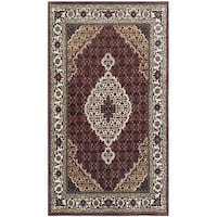 Herat Oriental Indo Hand-knotted Mahi Tabriz Wool Rug (3' x 5'6)