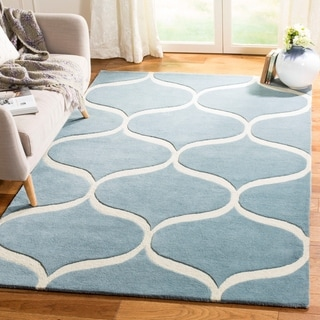 Safavieh Cambridge Transitional Geometric Hand-Tufted Wool Light Blue/ Ivory Area Rug (8' x 10')