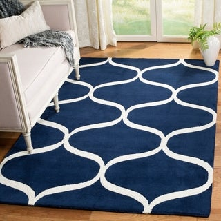 Safavieh Cambridge Transitional Geometric Hand-Tufted Wool Dark Blue/ Ivory Area Rug (8' x 10')