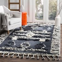 Safavieh Kenya Transitional Geometric Hand-Knotted Wool Charcoal/ Ivory Area Rug - 8' x 10'