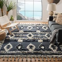 Safavieh Kenya Transitional Geometric Hand-Knotted Wool Grey/ Ivory Area Rug (9' x 12')