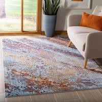 Safavieh Monray Modern Abstract Polyester Red/ Multi Area Rug - 9' x 12'