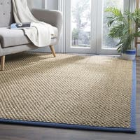 Safavieh Natural Fiber Contemporary Solid Seagrass Natural/ Navy Area Rug - 8' x 10'