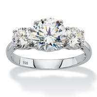 3 TCW Round White Cubic Zirconia 3-Stone Bridal Anniversary Ring in Platinum over Sterlin Classic CZ