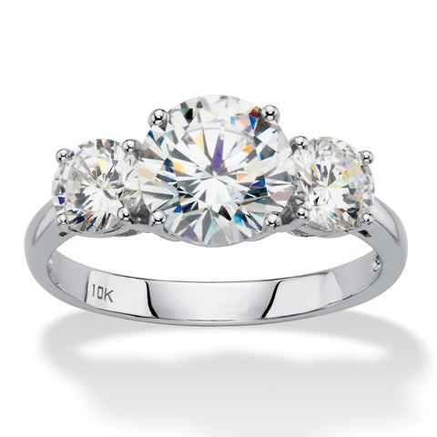 10K White Gold Cubic Zirconia 3-Stone Bridal Ring