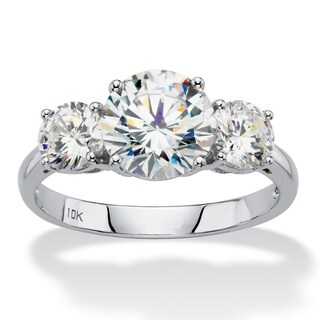 10K White Gold Cubic Zirconia 3-Stone Bridal Ring (3 options available)