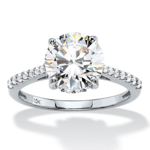 10K White Gold Cubic Zirconia Engagement Ring